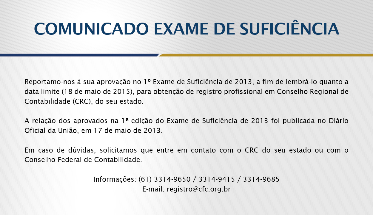 Crc exame de suficiencia 2014