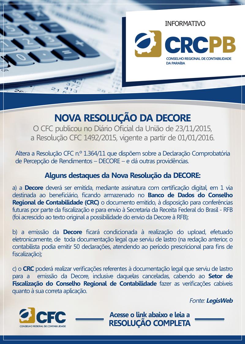 nova resoluo da decore resoluo cfc 14922015 vigente a partir de 01012016 - Decore