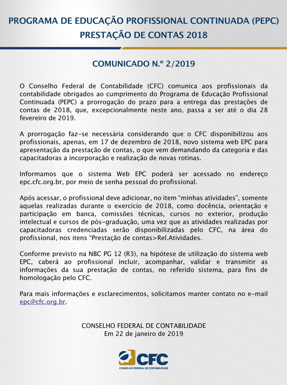 e36a565bef EPC – Prestação de contas de 2018 – Prorrogação – Até dia 28.02.2019